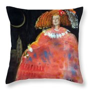 Menina And Cathedral Oil & Acrylic On Canvas Throw Pillow