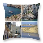 Menorca Collage 02 - Labelled Throw Pillow