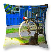 Meow Cat In Verdun Waiting By The Step Beautiful Summer Montreal Pet Lovers City Scene C Spandau Throw Pillow