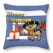 Meowy Christmas Throw Pillow