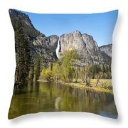 Merced River And Yosemite Falls Throw Pillow by Jane Rix