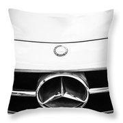 Mercedes-benz Grille Emblem -0230bw Throw Pillow