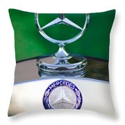 Mercedes Benz Hood Ornament 3 Throw Pillow