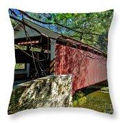 Mercers Mill Covered Bridge Throw Pillow