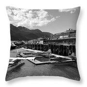 Merchants Wharf In Black And White Throw Pillow