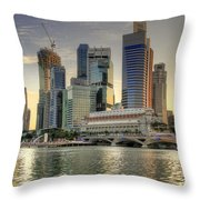 Merlion Park In Singapore 3 Throw Pillow