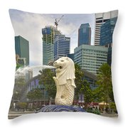 Merlion Park In Singapore Throw Pillow