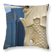 Merlion Statue By Singapore River Throw Pillow