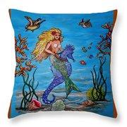 Mermaid And Seahorse Morning Swim Throw Pillow