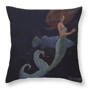 Mermaid And The Blue Fish Throw Pillow