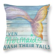 Mermaid Bath II Throw Pillow