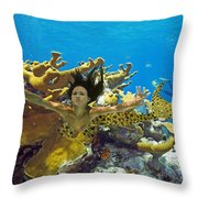 Mermaid Camoflauge Throw Pillow by Paula Porterfield-Izzo