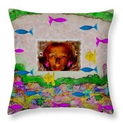 Mermaid In Her Cave Throw Pillow