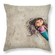 Mermaid In The Sand Throw Pillow