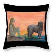 Mermaid Newfoundland Dog Sunset Cathy Peek Art Throw Pillow