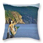 Mermaid On A Dock In Twillingate Harbour-nl Throw Pillow