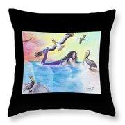 Mermaid Pelicans Surf Beach Cathy Peek Art Throw Pillow