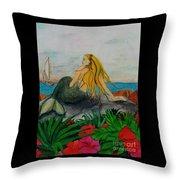 Mermaid Sailboat Flowers Cathy Peek Fantasy Art Throw Pillow