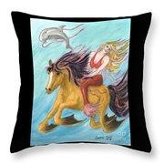 Mermaid Sea Horse Dolphin Fantasy Cathy Peek Throw Pillow