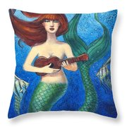 Mermaid Ukulele Angels Throw Pillow