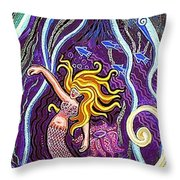 Mermaid Under The Sea Throw Pillow
