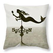 Mermaid Weathervane In Sepia Throw Pillow by Ben and Raisa Gertsberg