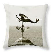 Mermaid Weathervane In Sepia Throw Pillow