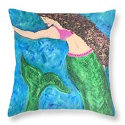 Mermaid With Star Fish  Throw Pillow