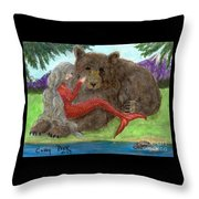 Mermaids Bear Cathy Peek Fantasy Art Throw Pillow