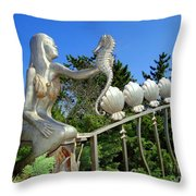 Mermaid's Best Friend Throw Pillow