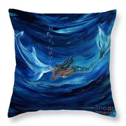 Mermaids Dolphin Buddy Throw Pillow