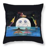Mermaids Jumping Over Moon Cathy Peek Throw Pillow