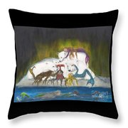 Mermaids Polar Bears Cathy Peek Fantasy Art Throw Pillow