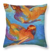 Mermaids Swimming Throw Pillow
