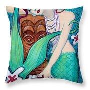 Mermaid's Tiki God Throw Pillow