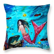 Mermaids Treasure Throw Pillow