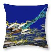 Merman Throw Pillow by Paula Porterfield-Izzo