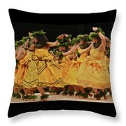 Merrie Monarch Hula Dancers In Yellow Dresses Throw Pillow