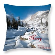 Merry Christmas Snowy Mountain Scene Throw Pillow