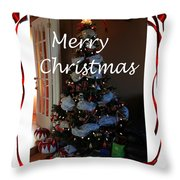 Merry Christmas - Greeting Card - Christmas Tree - Ribbons Throw Pillow