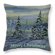 Merry Christmas - Snowy Winter Evening Throw Pillow