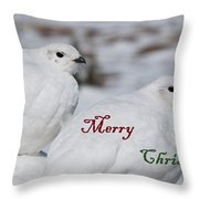 Merry Christmas - Winter Ptarmigan Throw Pillow