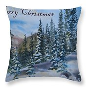 Merry Christmas - Winter Trees And Mountains Throw Pillow