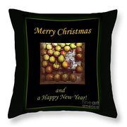 Merry Christmas And A Happy New Year - Little Gold Pears And Leaf - Holiday And Christmas Card Throw Pillow