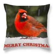 Merry Christmas Cardinal Throw Pillow