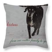 Merry Christmas Critters Hershey Throw Pillow