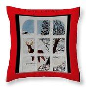 Merry Christmas Deer Throw Pillow