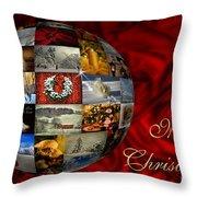 Merry Christmas Globe Throw Pillow
