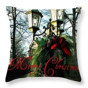 Merry Christmas Greeting Card Throw Pillow