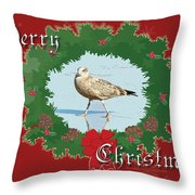Merry Christmas Greeting Card - Young Seagull Throw Pillow